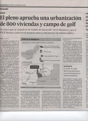 IZQUIERDA UNIDA DENUNCIA PUBLICAMENTE LA ABERRACIÓN DEL PROYECTO URBANÍSTICO DEFENDIDO POR EL PSOE DE UGÍJAR